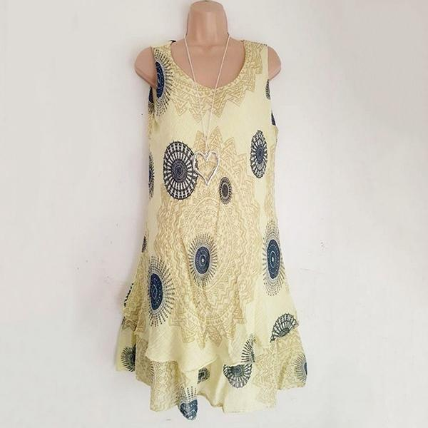 Fashion Loose Sleeveless Printing Dress