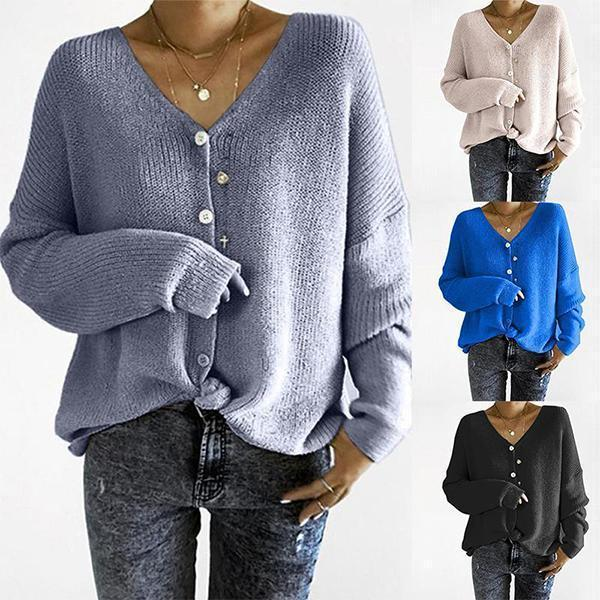 V-Neck Long Sleeve Button Plain Sweaters