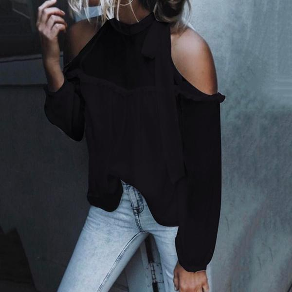 Sexy Lace-up Turtleneck Blouse