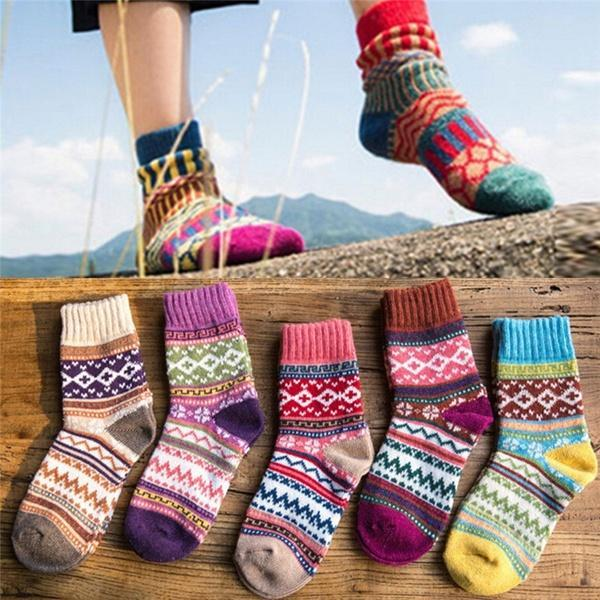 Unisex Retro Rainbow Striped Tube Cotton Socks