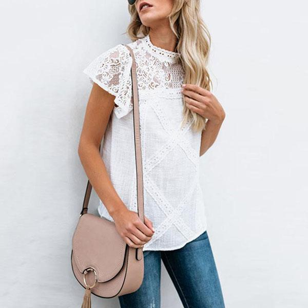 Lace Patchwork Solid Short Sleeve Blouses