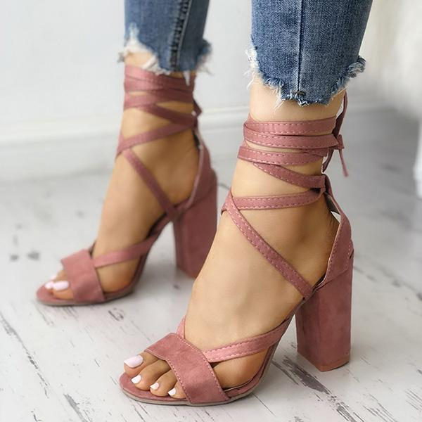 Sexy Lace-up Mid-heel Sandals