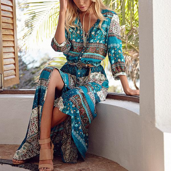 Bohemian Style V Neck Long Dress