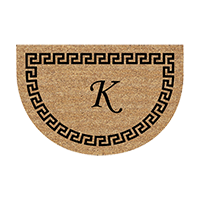 Greek Key Round Welcome Mat