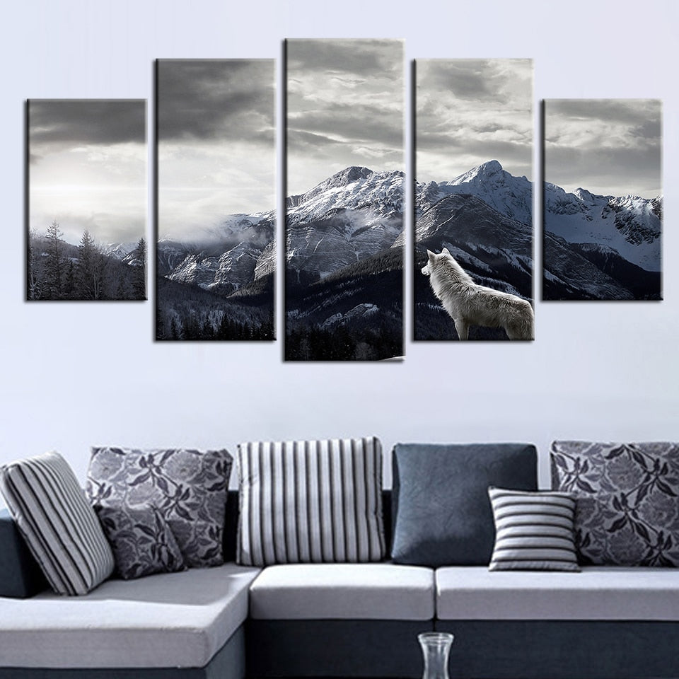 Snow Mountain Landscape Wall Art Large Poster /& Canvas Pictures White Wolf