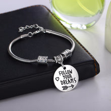 "Load image into Gallery viewer, ""Follow Your Dreams"" Inspirational Charm Bracelet - You-Inspire.Us"