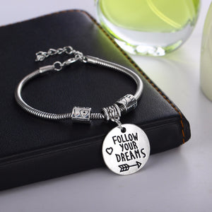 """Follow Your Dreams"" Inspirational Charm Bracelet - You-Inspire.Us"