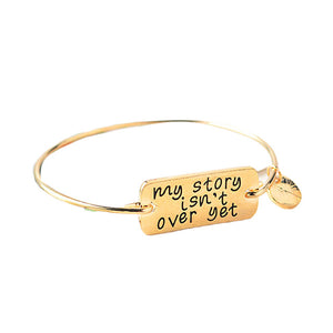 """My Story isn't Over Yet"" Semicolon Bangle Bracelet - You-Inspire.Us"