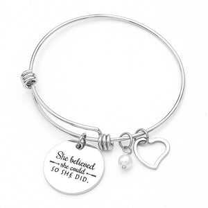 """She Believed She Could, So She Did"" Inspirational Charm Bracelet - You-Inspire.Us"