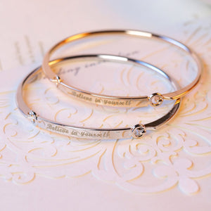 """Believe In Yourself"" Bangle Cuff Quote Bracelet - You-Inspire.Us"
