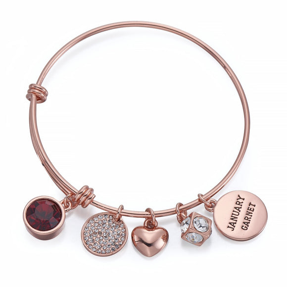 Rose Gold Birthstone Charm Bangle | ${Vendor}