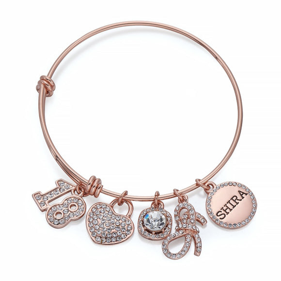 18 Charm Bangle in Rose Gold | ${Vendor}