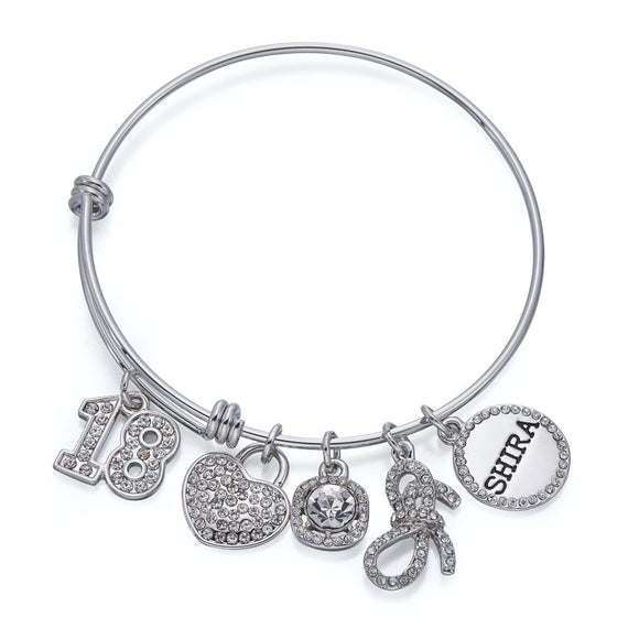 18 Charm Bangle in Silver | ${Vendor}