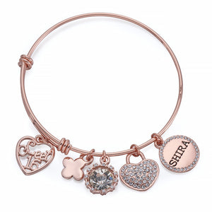 Sweet 16 Charm Bangle in Rose Gold | ${Vendor}