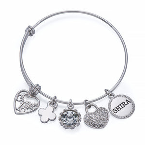 Sweet 16 Charm Bangle in Silver | ${Vendor}