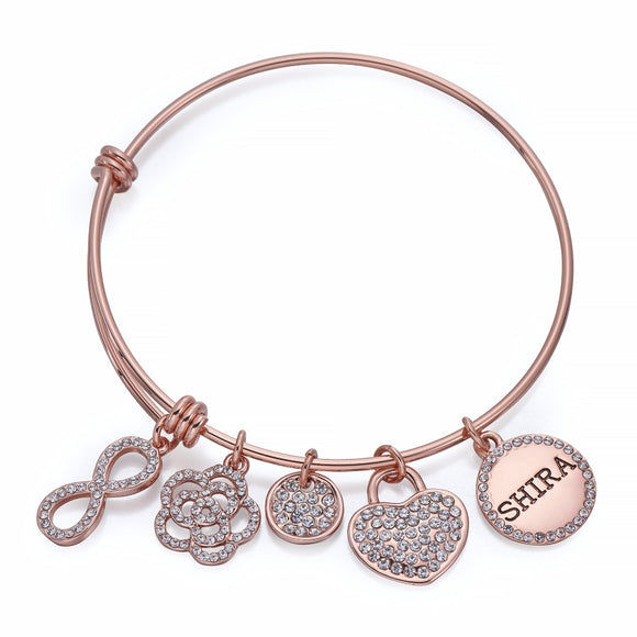 Infinity Charm Bangle in Rose Gold | ${Vendor}