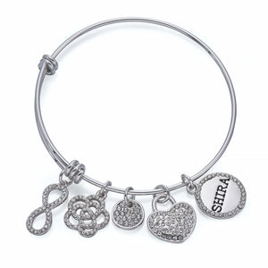 Infinity Charm Bangle in Silver | ${Vendor}