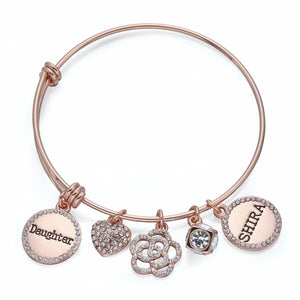 Daughter Charm Bangle in Rose Gold | ${Vendor}
