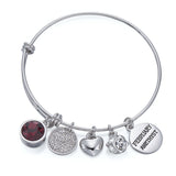 Silver Birthstone Charm Bangle | ${Vendor}