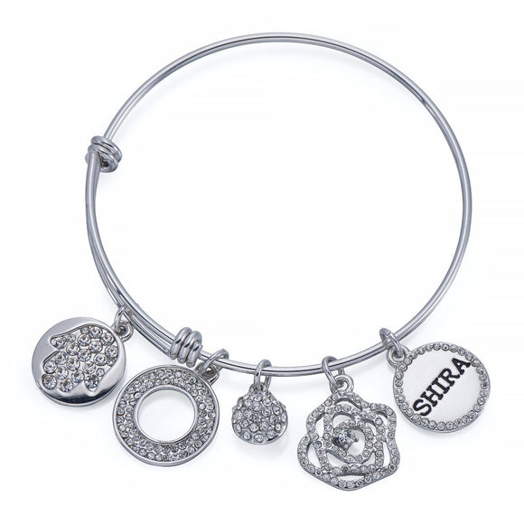 Fatima Head Charm Bangle in Silver | ${Vendor}
