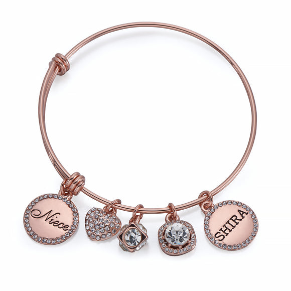 Niece Charm Bangle in Rose Gold | ${Vendor}