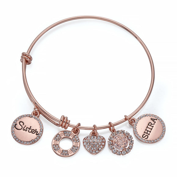 Sister Charm Bangle in Rose Gold | ${Vendor}