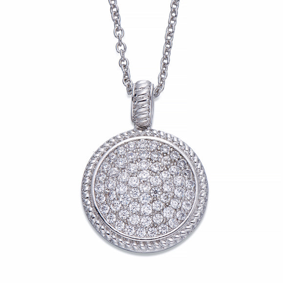 Crystal Encrusted Silver Pendant Necklace | ${Vendor}