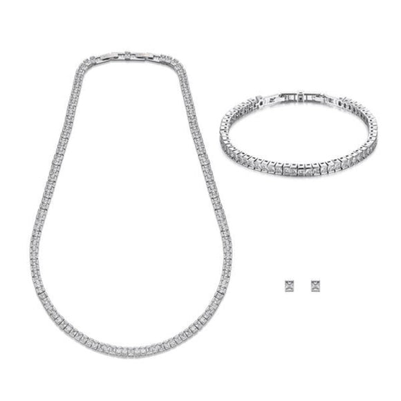 Classic Silver Necklace, Bracelet & Earring Set | ${Vendor}