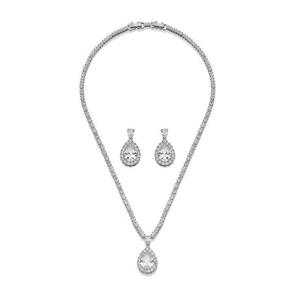 Silver with Inset Crystal Necklace & Earring Set | ${Vendor}
