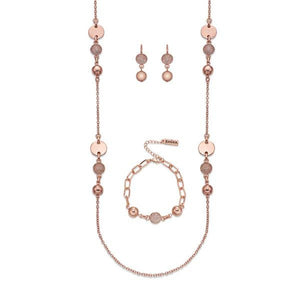 Miniature Crystals on Polished Rose Gold Necklace, Bracelet & Earring Set | ${Vendor}