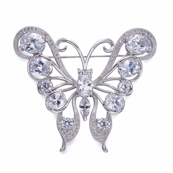 Crystal & Silver Butterfly Brooch | ${Vendor}
