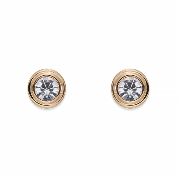 Crystal and Rose Gold Stud Earrings