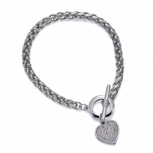 Silver Bracelet With Heart Charm | ${Vendor}