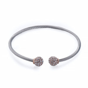 Silver, Rose Gold and Crystals Bangle | ${Vendor}
