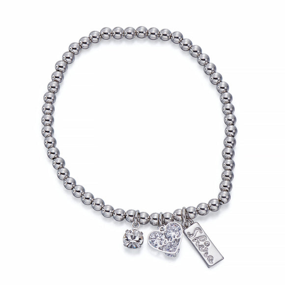 Silver Ball Bracelet With Charms | ${Vendor}