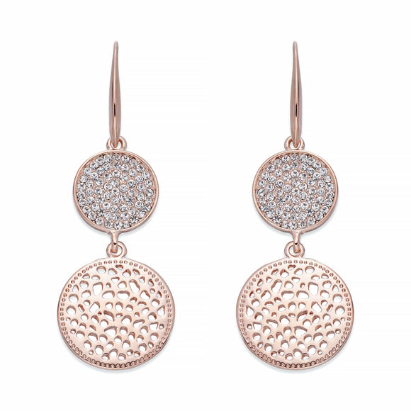Crystals & Rose Gold Dangle Earrings | ${Vendor}