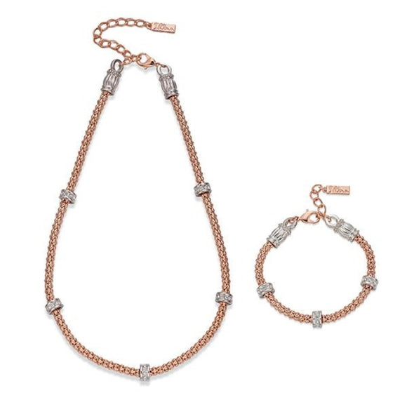 ROSE GOLD ROPE EFFECT NECKLACE & BRACELET SET | ${Vendor}