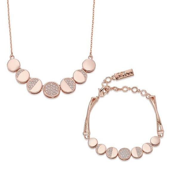 Rose Gold and Miniature Crystal Necklace & Bracelet Set | ${Vendor}