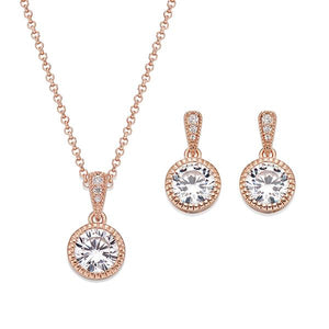Brilliant White Crystals on Rose Gold Neckalce and Earring Set | ${Vendor}