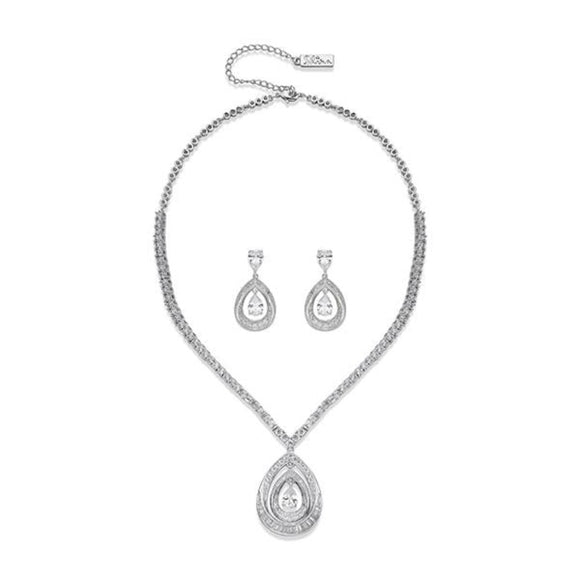 Intricately Detailed Crystal and Silver Necklace & Earring Set | ${Vendor}
