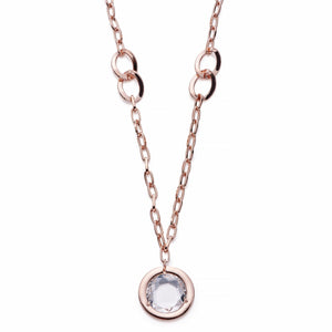 Rose Gold Necklace With Crystal Inset | ${Vendor}
