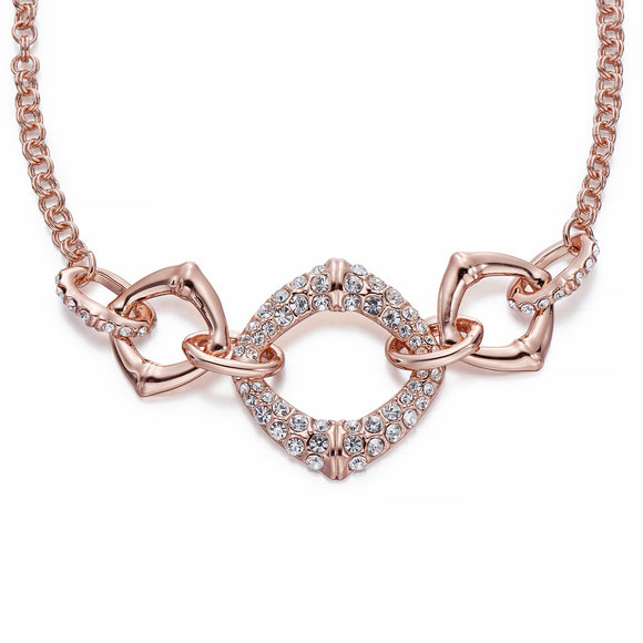 Crystal Adorned Rose Gold Chain Necklace | ${Vendor}
