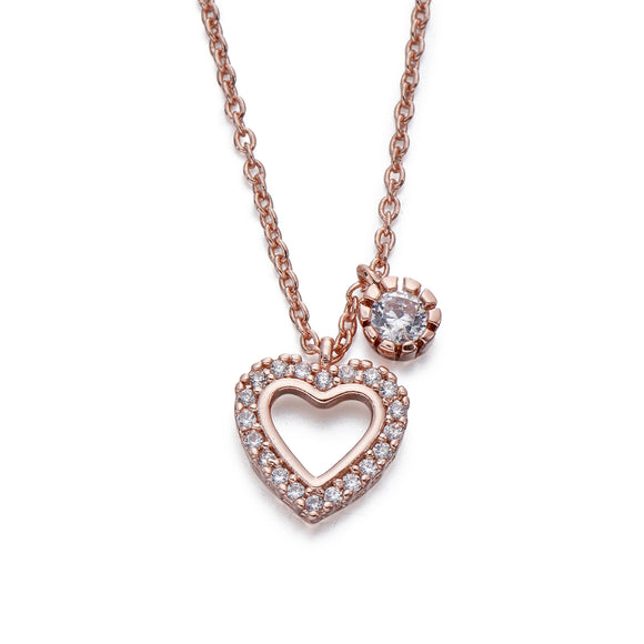 Crystals on Rose Gold Heart Pendant Necklace | ${Vendor}
