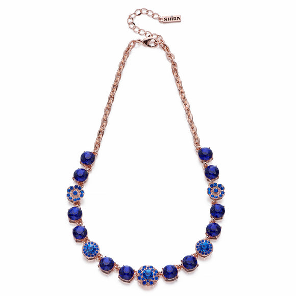 Blue Crystals on Rose Gold Necklace | ${Vendor}