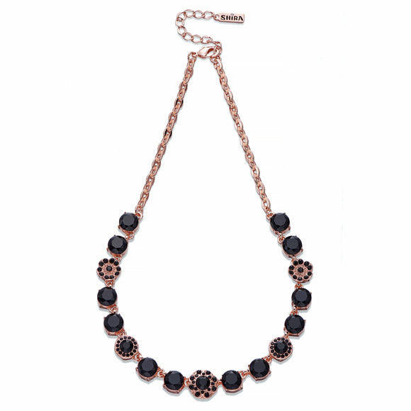 Black Crystal on Rose Gold Necklace | ${Vendor}