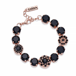 Black Crystal on Rose Gold Bracelet | ${Vendor}