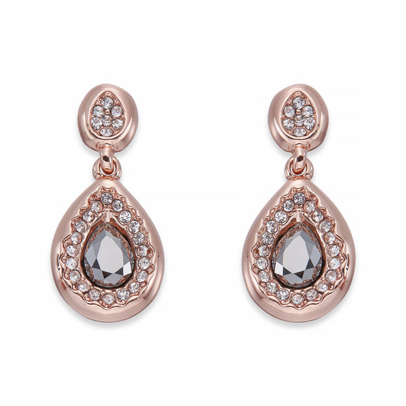 Grey & White Crystals On Rose Gold Teardrop Earrings | ${Vendor}
