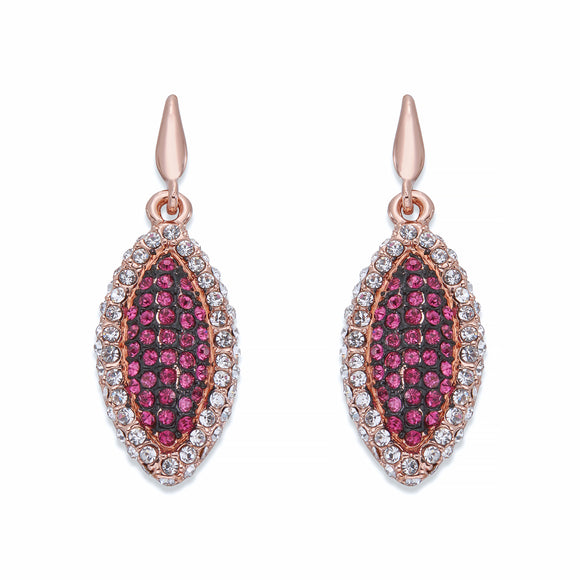 Pink & White Crystals on Rose Gold Earrings | ${Vendor}