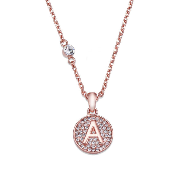 Rose Gold Initial Pendant Necklace | Shira Designer Jewellery