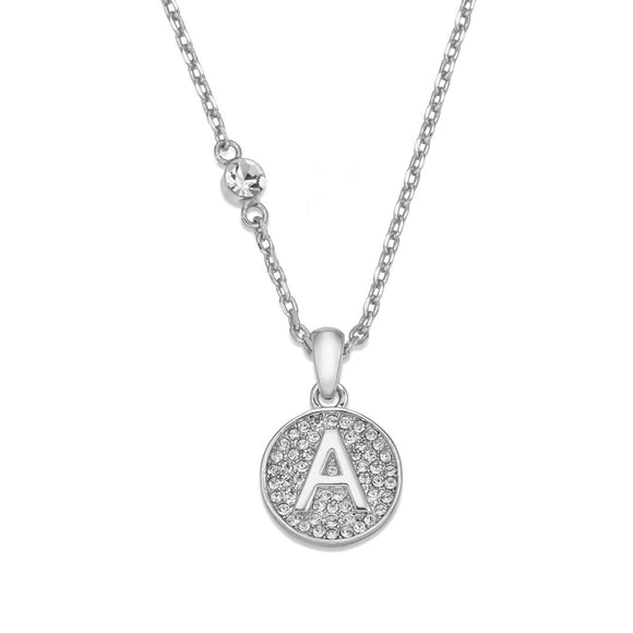 Rhodium necklace with initial | ${Vendor}